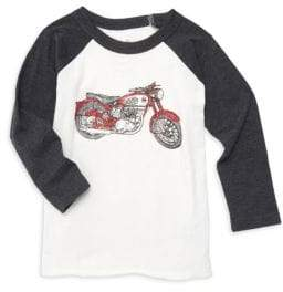 Chaser Little Boy's& Boy's Motorcycle Graphic Baseball Tee - Salt And Pepper - Size 2