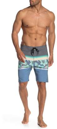 Burnside Floral Stripe Woven Board Shorts