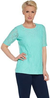 Factory Quacker Lace Elbow Sleeve Top with Rhinestones