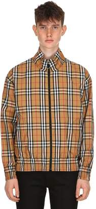 Burberry Zip-Up Check Nylon Bomber Jacket