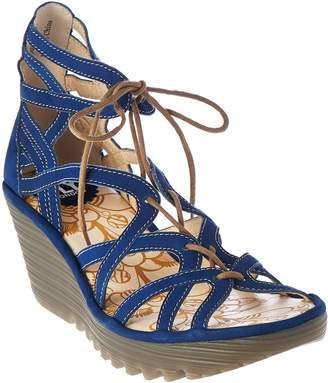 Fly London Leather Lace-up Wedge Sandals - Yuke