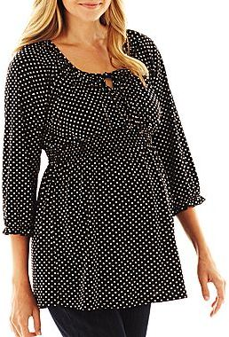 JCPenney Maternity Smocked Peasant Top