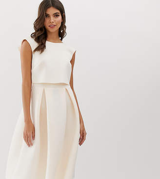 Asos Design DESIGN fold back crop top midi prom dress