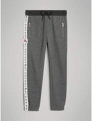 Burberry Logo Stripe Cotton Sweatpants , Size: 8Y