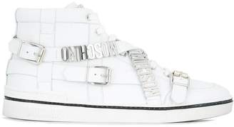 Moschino logo plaque hi-top sneakers