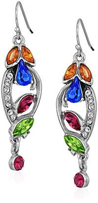 Swarovski Ben-Amun Jewelry Crystal Collage Bridal Wedding Multi-Color Fishhook Drop Earrings