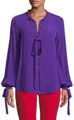 No.21 No. 21 Violet Tie-Neck Button-Front Blouse