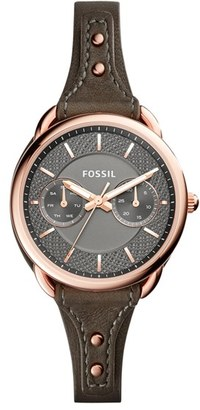 Fossil 'Tailor' Multifunction Leather Strap Watch, 35mm $135 thestylecure.com