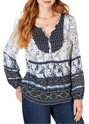 Style&Co. Style & Co. Mixed-Media Bib Top