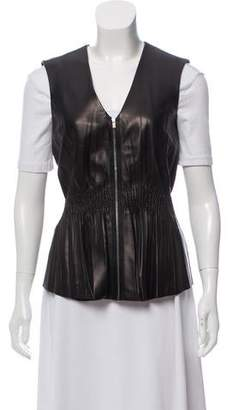 The Row Smocked Leather Vest w/ Tags