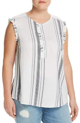 Junarose Plus Manina Striped Ruffle Tank