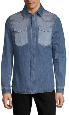 Valentino Long-Sleeve Denim Button-Down Shirt