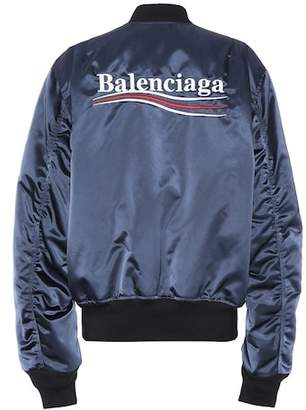 Balenciaga Logo satin bomber jacket