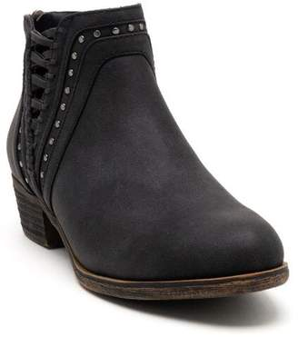 Threaded Studded Trim Ankle Boot - Black