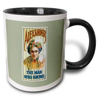 3dRose Alexander the Man Who Knows Vintage Magician Advertising Poster - Two Tone Black Mug, 11-ounce