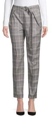 HUGO Plaid D-Ring Belted Pants