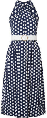 MICHAEL Michael Kors Belted Polka-dot Stretch-jersey Dress - Navy