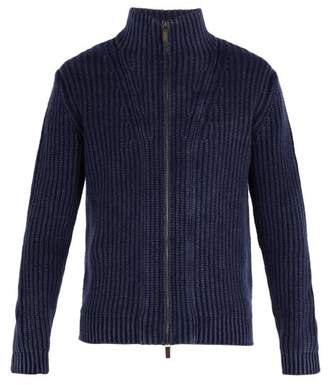 Iris von Arnim Lucas High Neck Zip Through Cashmere Cardigan - Mens - Navy