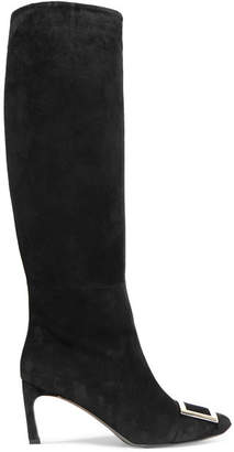 Roger Vivier Belle Vivier Trompette Suede Knee Boots - Black