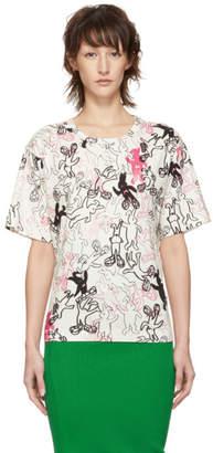 Marni Dance Bunny White and Multicolor Bunny Printed T-Shirt