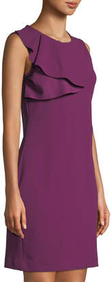 Bebe Ruffle-Shoulder Crepe Sheath Dress