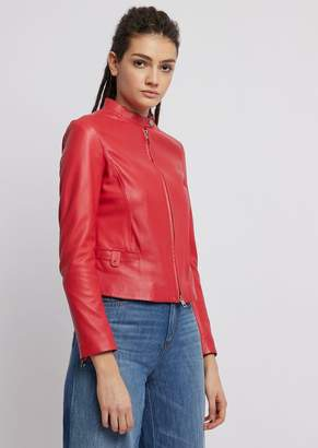 Emporio Armani Biker Jacket In Glove-Like Nappa Leather