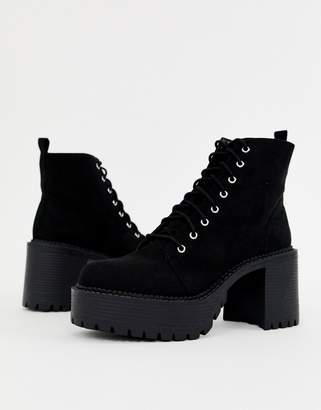 Office Animal black lace up chunky heeled boot
