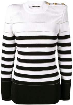 Balmain striped woven jumper