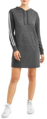 Eye Candy Juniors' Drop Shoulder Hooded Sweatshirt Dress with Kangaroo Pocket