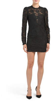 Juniors Lace Long Sleeve Dress