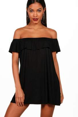 boohoo Liberty Off The Shoulder Jersey Swing Dress