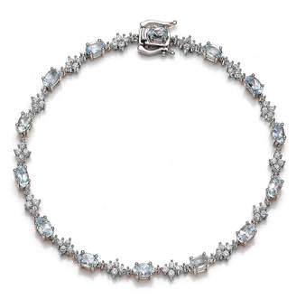 FINE JEWELRY Genuine Aquamarine and Lab-Created White Sapphire Sterling Silver Tennis Bracelet