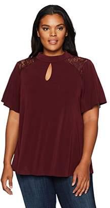 London Times Women's Plus Size Flutter Sleeve Crepe Knit Mock Neck Top