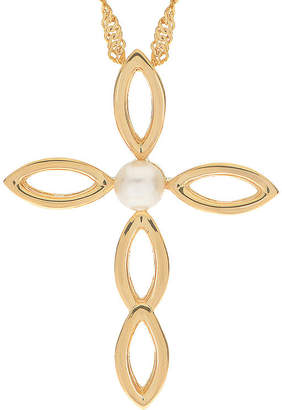 Silver Cross FINE JEWELRY Cultured Freshwater Pearl 14K Gold Over Pendant