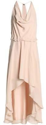 Haute Hippie Lace-Up Draped Silk Crepe De Chine Midi Dress