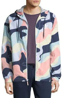 adidas Men's Graphic-Print Wind-Resistant Jacket with Hood