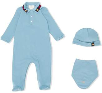 Gucci Kids bee embroidered pajama set