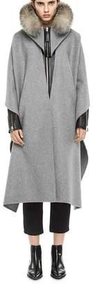 Mackage Helina Fox Fur-Trim Hooded Cape
