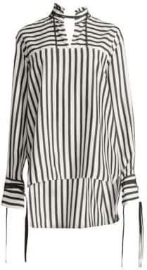 Derek Lam Striped Silk Mandarin-Collar Top
