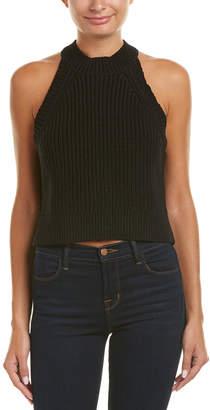 DSTLD Cropped Linen-Blend Sweater Tank