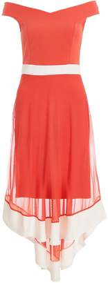 Quiz Coral And White Mesh Bardot Dip Hem Dress