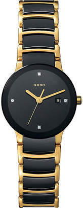 Rado R30930712 Centrix gold and black ceramic watch