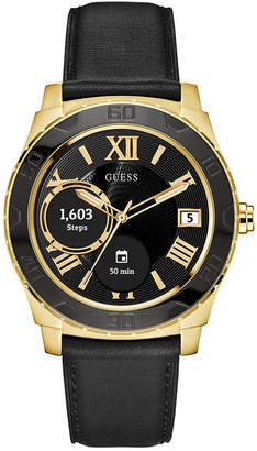 GUESS Connect Men's Black Leather Strap Touchscreen Smart Watch 44mm