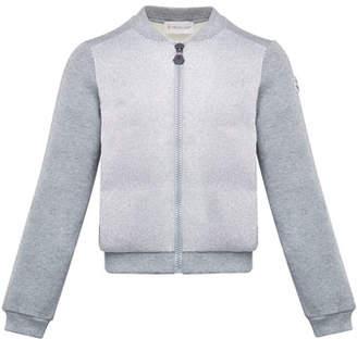 Moncler Contrast-Front Zip Cardigan, Size 8-14