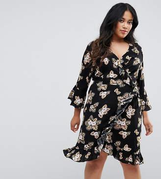 Club L Plus 3/4 Sleeve Detailed Wrap Black Floral Day Dress