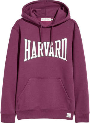 H&M Printed Hooded Sweatshirt - Purple