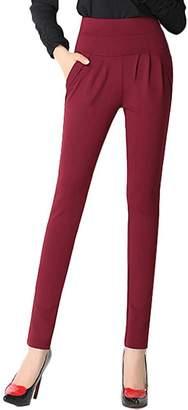 f435c891b24 YLcabin Women s Plus Size Stretch Harem Pants Pleated Pockets Slim Office  Trousers