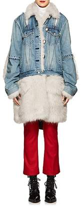 Sacai Women's Faux-Fur-Trimmed Denim Coat