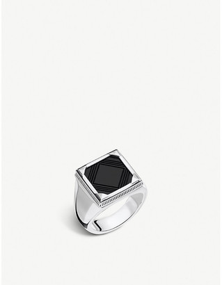 Thomas Sabo Rebel at Heart square onyx and silver signet ring