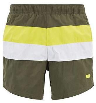 3e1b67bf0 HUGO BOSS Colour-block swim shorts in brushed quick-dry fabric